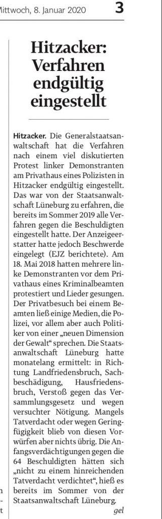 Hitzacker: Verfahren endgültig eingestellt. EJZ vom 8.1.2019